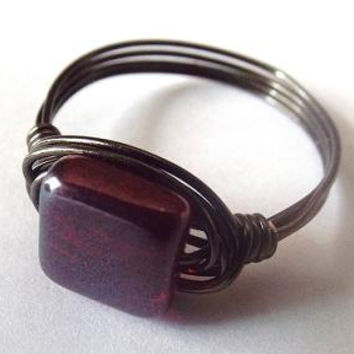 Red glass ring, Czech bead ring, black and red ring, wire wrap ring, autumn jewelry, red garnet ring, simple ring, cute ring, black ring