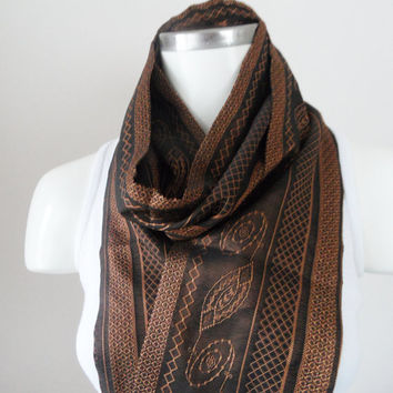 scarf, patterned jacquard scarf, brown scarf, unisex scarf, christmas gifts