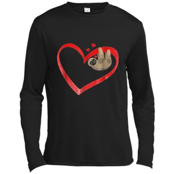 Sloth Napping  Cute Heart Lazy Valentines Day Long Sleeve Moisture Absorbing Shirt