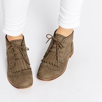 ASOS ABERY Brogue Lace Up Leather Ankle Boots