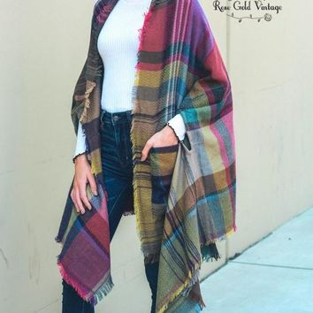 Plaid Ruana Wrap with Pockets - Fuchsia