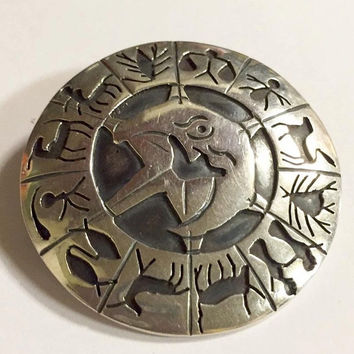 Vintage Taxco Sterling Silver Zodiac Signed FRA Brooch/Pendant