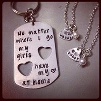 EXCLUSIVE - Personalized Dog Tag Keychain and Necklace Set Hand Stamped Jewelry - Military Family Set Husband Wife, Father Daughter Set