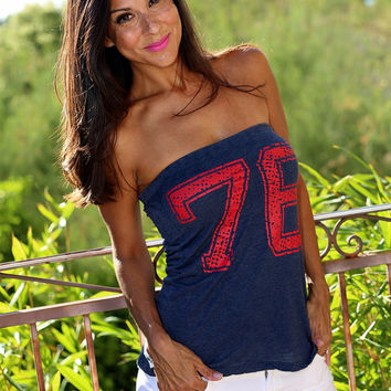 76 4th of July Strapless Tshirt Top/ Firedaughter Tube Top/ Red White and Blue 1776/ Made in the USA/ One Size