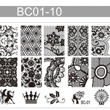 TOP Sale! 1 Pc BC01-10 Crown Floral Butterfly Pattern Nail Art Stamping Plates Stainless Steel Stamp Template Stencils For Nails