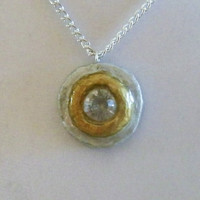 Silver and Gold Necklace, clay, pendant, painted, circle, circular, shiny, shinning, gloss, glossy, stunning, ooak, unique, original, nice