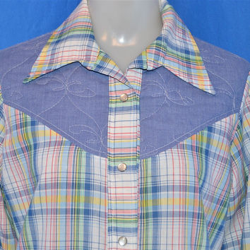 70s Plaid Chambray Women's Western Pearl Snap Shirt Large