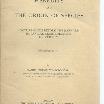 Heredity and the origin of species : lecture given before the Barnard Botanical Club, Columbia University, December 18, 1905