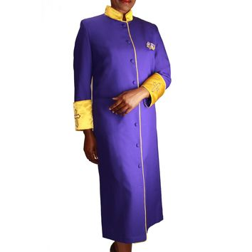Regal Robes 9001W Cross Motif Embroidered Satin Cuffs and Collar PlusSize Cassock Robe