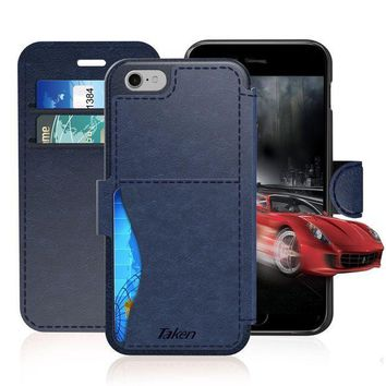 ESBMS6 iPhone 8 / iPhone 7 Leather Wallet Case with Cards Slot and Metal Magnetic, Slim Fit and Heavy Duty, TAKEN Plastic Flip Case / Cover with Rubber Edge, for Women, Men, Boys, Girls, 4.7 Inch (Blue)
