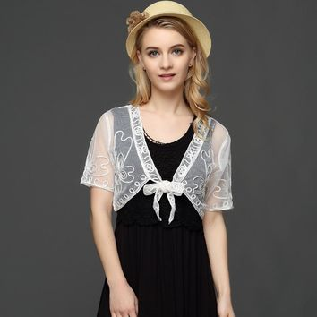 Summer Vintage V Neck Short Sleeve Embroidery Lace Mesh Shrug Bolero Jacket Women See Through Short Shawl Cardigan Top