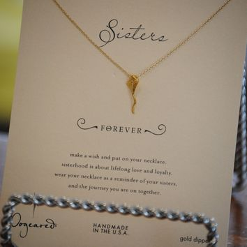 Sisters Forever Gold Kite Necklace by Dogeared