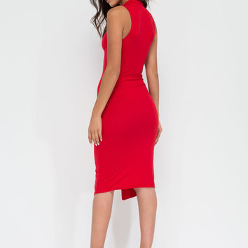 Split Second Mockneck Midi Dress