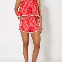 Red Paisley Popover Romper | Jumpsuits & Rompers | rue21