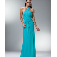 Aqua Pleated Chiffon Halter Gown Prom 2015