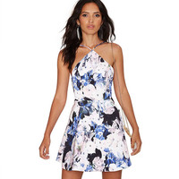 Halter Floral Printed A-Line Dress