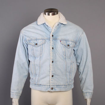 80s Levi's JEAN JACKET / SHERPA Lined Blue Denim Trucker Coat, s m