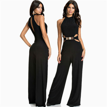 Fashion Sleeveless Black Patchwork Straight overalls with Sequined Slim halterneck Jumpsuits bell-bottoms Rompers Playsuit 712