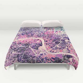 London Mosaic Map #2 Duvet Cover by Map Map Maps