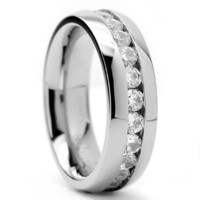 6MM High Polish Ladies Eternity Stainless Steel Ring Wedding Band with CZ sizes 4 to 8