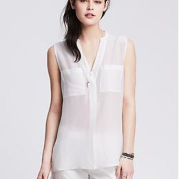 Light Silk Sleeveless Popover Blouse | Banana Republic