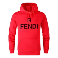FENDI Fashion Men Women Casual Print Hoodie Long Sleeve Sweater Top Sweatshirt Red