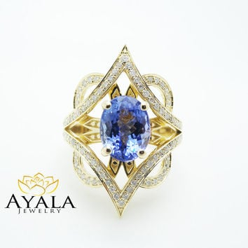 3 Carat Tanzanite Cocktail Ring in 14K Yellow Gold Unique Design Right Hand Ring Oval Cut Tanzanite Cocktail Ring with Natural Diamonds
