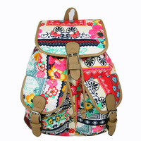 Ethnic Style Lady's Bags Backpacks Travel Rucksack Satchel Canvas Travel Bags School Book Bag Floral Red Print Mochila