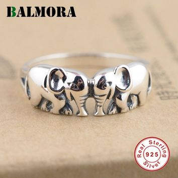 BALMORA New Animal Ring 100% Real 925 Sterling Silver Elephant Rings for Women Men Child Gifts Retro Jewelry Anillos SY20128