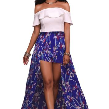 White Ruffle Off Shoulder and Floral Maxi Romper
