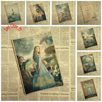 Alice in Wonderland Classic Cartoon Movie Kraft Paper Poster Cafe Bar decorative painting Free Shipping