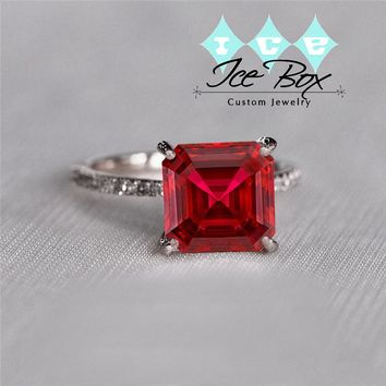 Cultured Pigeon Blood Ruby Engagement Ring 3.6ct, 8mm Emerald Cut Pigeon Blood Ruby set in a 14k Rose Gold Diamond Setting