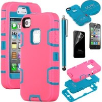 ULAK Hybrid Shockproof Dirt Proof Durable Case Cover for iPhone 4 iPhone 4S (Blue+Rose Pink)