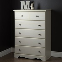 South Shore Country Poetry 5-Drawer Chest, White Wash 9031035 Chests NEW