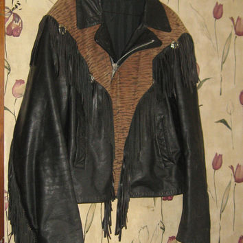 vintage  80s black leather  fringe western jacket w tiger leather   print trim conchos Western Motorcycle Jacket   mens size med   unisex