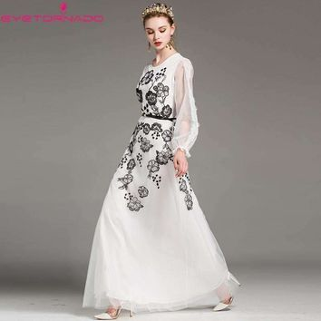 Flower Embroidery Lace Patchwork Lantern Sleeve Long Dress Women Casual Party Formal Boho Maxi Mesh Dress