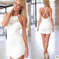 White Lace Embroidered Halter Neck Criss Cross Back Bodycon Mini Dress