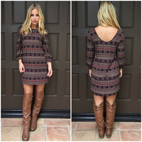 Rustic Maze Shift Dress