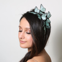 Sweet Mint Butterfly Headband - woodland, fairy tale, bride, pastel