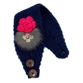 Beatnix Fashions Button Up Knit Flower Ear Warmer Headband