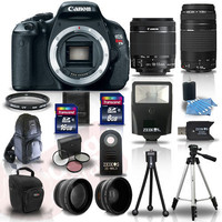 Canon EOS Rebel T3I 600D Body + 4 Lens Kit 18-55 IS +75-300 +24GB Flash & More
