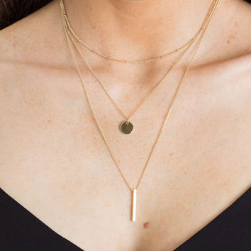 Kailee Gold Layered Necklace Set