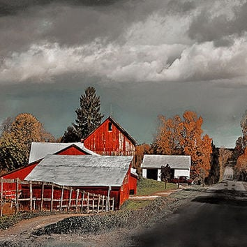 Farmhouse Red Barn Gray Clouds Photography WInter Autumn Rustic Cottage Shabby Chic Dark Clouds, Storm Country Road  rdtt, tvat