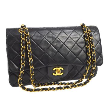 Auth CHANEL Double Flap Quilted Chain Shoulder Bag Black Leather Vintage V22115
