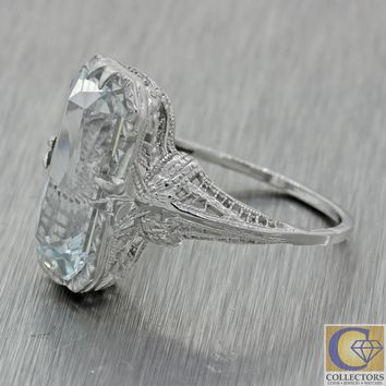 1930s Antique Art Deco 14k White Gold Aquamarine Filigree Cocktail Ring A1