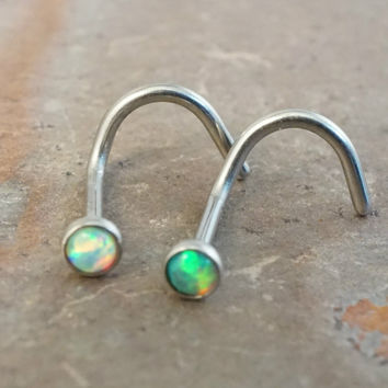 White Opal and Green Fire Opal Corkscrew Nose Ring Stud