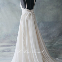 Romantic light champagne Backless Boho Lace Wedding Dress Great for  Beach Wedding- AM 7040020