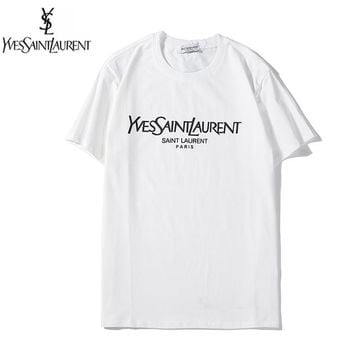 YSL New fashion letter print couple top t-shirt White