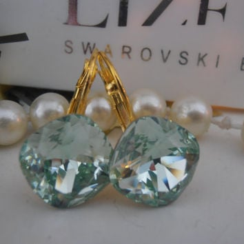 Chrysolite, Swarovski Earrings, Green, Crystal, 12mm, 4470, Cushion Cut, Leverback Golden setting, Dangle, Drop, Wedding Jewelry