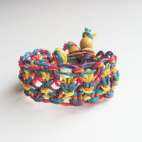 Wide Hemp Bracelet in Lacy Rainbow Multicolor, ready to ship.